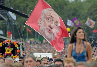 Jeremy Corbyn flag at Glastonbury