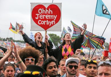Jeremy Corbyn supporters at Glastonbury