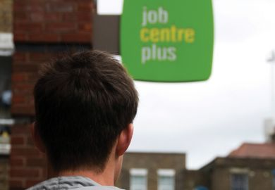 Young man looking at the job centre