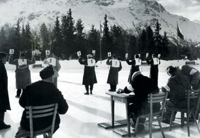 Judges holding score cards, St Moritz Winter Olympics