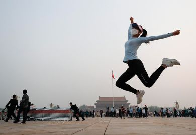 Woman jumps in Chinese city