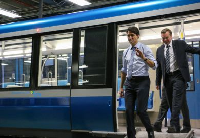 Justin Trudeau inspects a new train