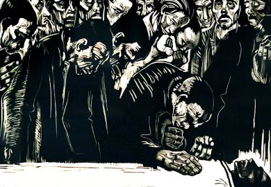 The Living for the Deceased: memorial print on the occasion of the murder of Karl Liebknecht 1919, by Kathe Kollwitz