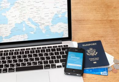 Laptop, passport, phone and credit card for travelling