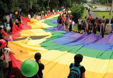 Large rainbow pride flag