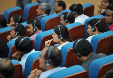 lecture with headsets