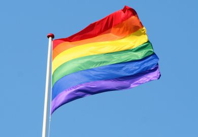 LGBT flag flying