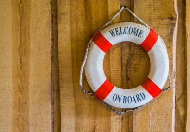 Life buoy with the text welcome on board