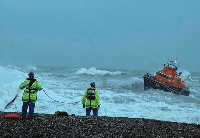 Lifeboat in rough seas