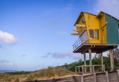 Lifeguard Tower at Lakes Entrance Beach, Victoria, Australia
