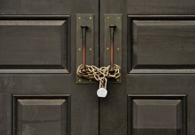 a padlocked door