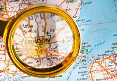 London magnified on map of United Kingom (UK)