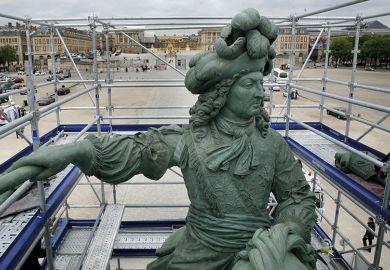 Scaffolding around sculpture