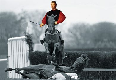 Machiavelli jumping over a horse