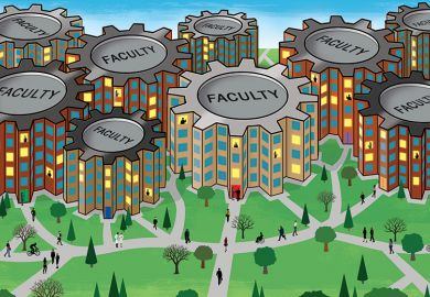 Illustration of a university with different faculties represented by cogs