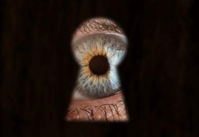 Male blue eye looking through the keyhole