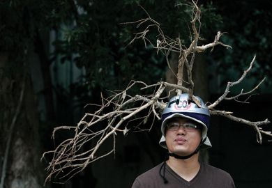 Man wears helmet with branches attached