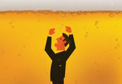 Man drowning in glass of beer (illustration)