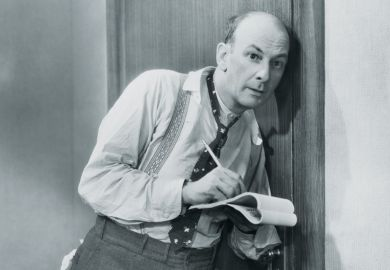 Man eavesdropping and taking notes at door