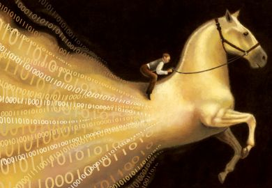 Man riding big data horse