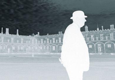 Man walking, University of Oxford campus, photo negative