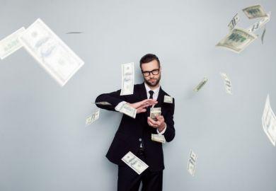 Man raining money