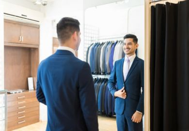Man satisfied with new suit
