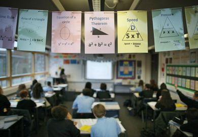Signs about maths hanging up in a classroom