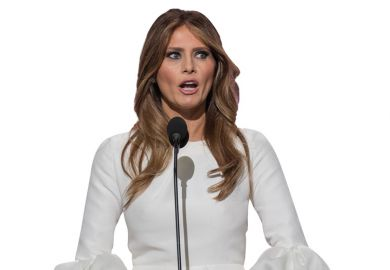 Melania Trump speaks during Republican National Convention, Cleveland, Ohio, 2016