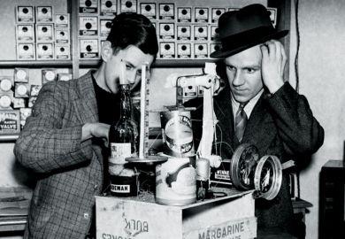 Men using home-made radio, Liverpool