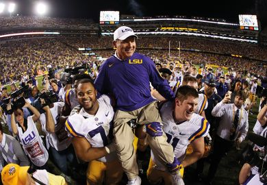 Louisiana State University (LSU) winning football coach Les Miles was fired by F. King Alexander, which put Alexander's tenure at risk