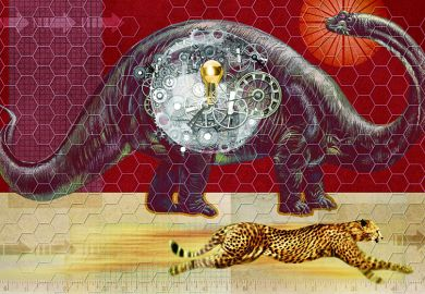 Dinosaur and cheetah illustration