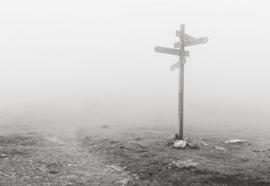 Moors roadsigns in fog