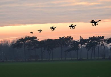 Multiple exposure of a drone flying at sunset