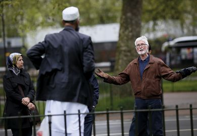 Muslim man being confronted