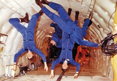 NASA astronauts, weightlessness training, Boeing KC-135 Stratotanker, 1978