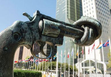 Non-violence sculpture, Carl Fredrik Reuterswärd, United Nations (UN) headquarters, New York City