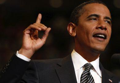 Obama raising hand