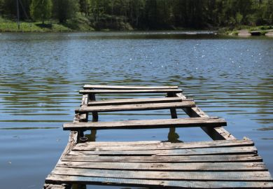 Old wooden bridge pier on the lake