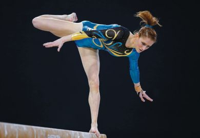 Olivia Vivian on balance beam, Commonwealth Games, 2014