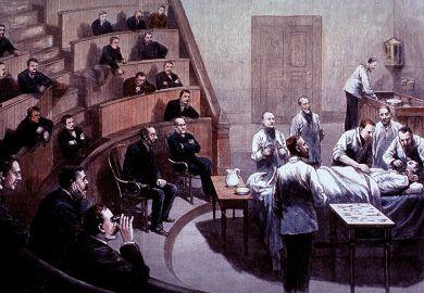 Men watching an operation