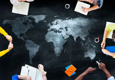 A map with international students around it