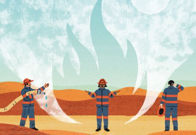 Illustration of fire fighters in a desert