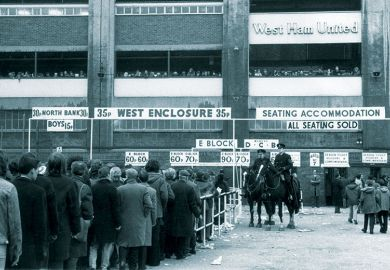 Football fans queuing for tickets, 1972