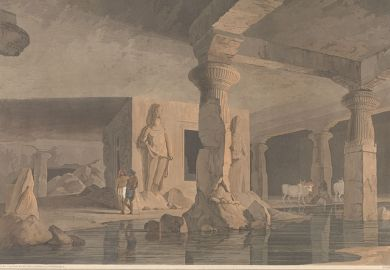 Artistry Thomas and William Daniell, 'Part of the Interior of the Elephanta [Temple]', in Oriental Scenery (1800). Yale Center for British Art
