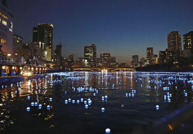 LED lights on the river running through Osaka