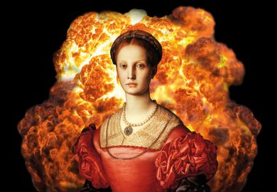 Painting of woman in front of huge explosion