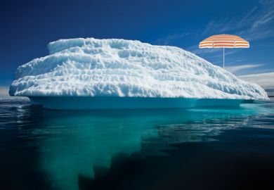 Parasol on iceberg, Disko Bay, Greenland