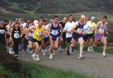 People competing in marathon, Scotland