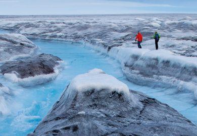 People walking in Greenland for Sara Penrhyn Jones' film Timeline